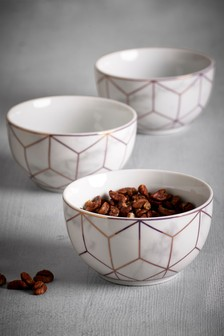 Set of 3 Rose Gold Marble Effect Dip Bowls