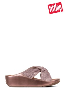 FitFlop™ Pink Ruche Twist Grace Slide Crystal Sandal