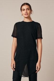 Longline Curved Hem Stud T-Shirt