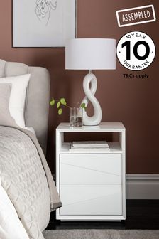 Sloane Statement White Glass Bedside Table