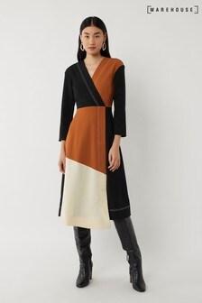 Warehouse Black Colourblock Dress