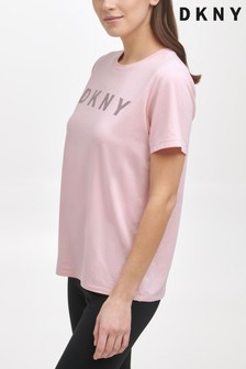 DKNY Pink Logo Short Sleeve Tee