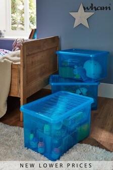 Set of 3 Wham Crystal 60L Plastic Storage Box And Lid