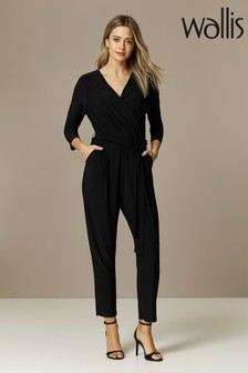 Wallis Petite Black 3/4 Sleeve Wrap Jumpsuit