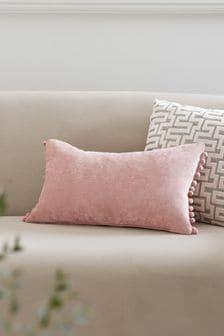 Blush Soft Velour Pom Edge Rectangle Cushion