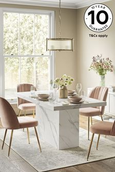 Marble effect Pedestal Dining Table
