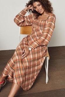 Square Neck Satin Midi Dress