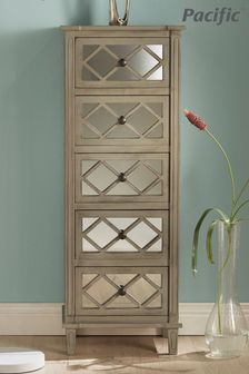 Pacific Lifestyle Dove Grey Mirrored Pine Wood 5 Drawer Tall Boy
