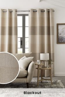 Locksley Woven Stripe Eyelet Curtains