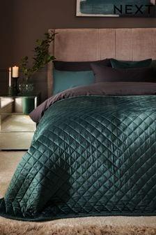 Bottle Green Hamilton Velvet Quilted Bedspread
