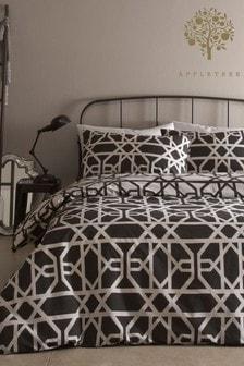 Appletree Black Manila Tellis Geo Duvet Cover and Pillowcase Set