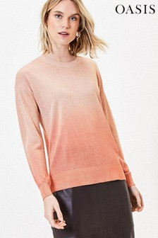 Oasis Gold Ombre Sparkle Knit Jumper