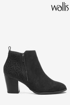 Wallis Black Wendie Laser Cut Side Zip Boots