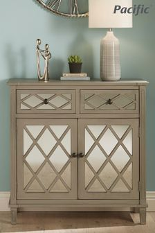 Pacific Lifestyle Dove Grey Mirrored Pine Wood 2 Drawer 2 Door Unit