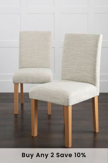 Set Of 2 Moda II Dining Chairs With Natural Legs