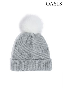 Oasis Grey Carrie Cable Pom Beanie