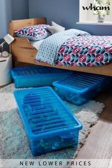 Set of 3 Wham Crystal 42L Plastic Storage U/Bed Box & Lid