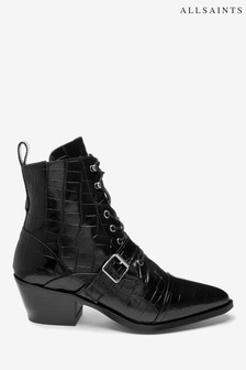 AllSaints Black Katy Croco Lace-Up Cow Leather Boots