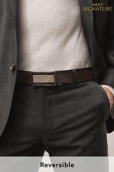 Signature Reversible Plaque Leather Belt