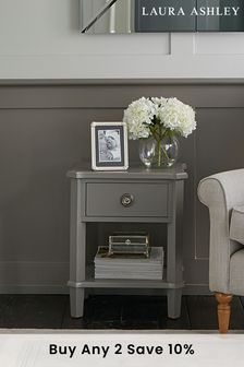 Henshaw Pale Charcoal 1 Drawer Side Table by Laura Ashley