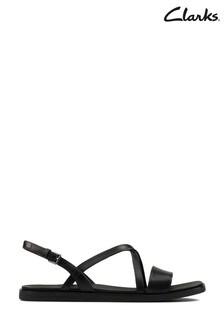 Clarks Black Leather Ofra Strap Sandals