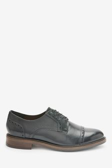 Leather Brogue Detail Lace-Up Shoes