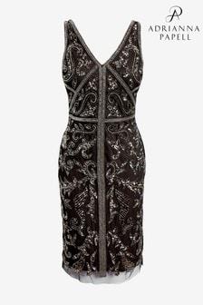 Adrianna Papell Black Bead Sheath Dress