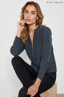Mint Velvet Charcoal Zip Puff Sleeve Top
