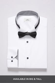 Wing Collar Shirt And Black Bow Tie Set