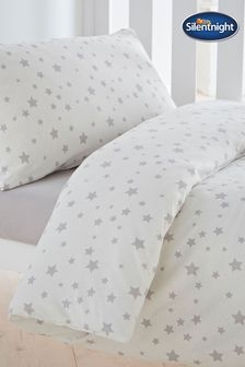 Silentnight Grey Safe Nights Pink Star Cot Bed Duvet Cover and Pillowcase Set