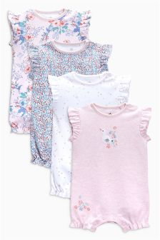 Floral Short Leg Rompers Four Pack (0mths-2yrs)