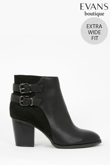 Evans Extra Wide Fit Black Buckle Heeled Ankle Boots
