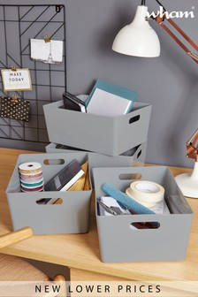 Set of 4 Wham Large Studio Large Rectangle Deep Plastic Storage Baskets