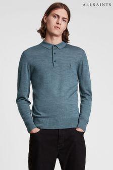 AllSaints Mode Merino Long Sleeved Polo Shirt