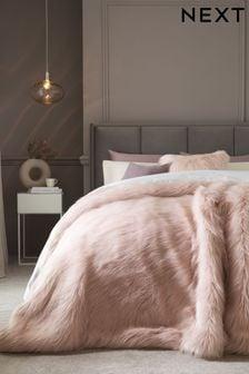Pink Long Faux Fur Throw