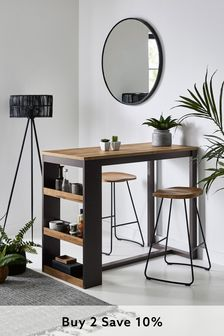Bronx Oak Effect Storage Bar Table