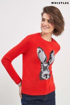 Whistles Orange Bunny Intarsia Jumper