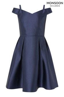 Monsoon Blue Duchess Twill Bardot Prom Dress