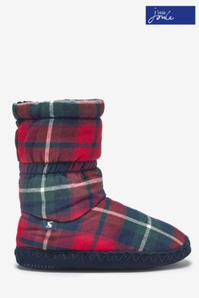 Joules Fleece Red Check Lined Slippersock