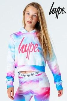 Hype. Kids Multi Cloud Fade Crop Pullover Hoodie