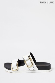 River Island White Buckle Footbed Sandals