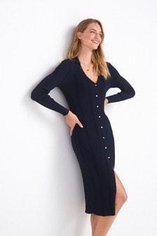 Long Sleeve Button Through Knit Dress