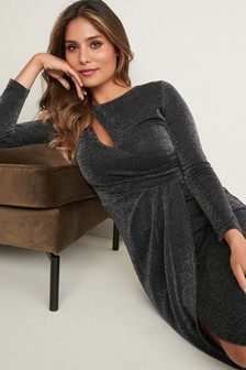 Lurex Slash Neck Midi Dress