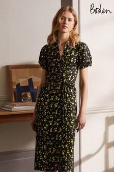 Boden Black Puff Sleeve Jersey Shirt Dress