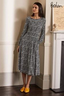 Boden Black Evelyn Jersey Midi Dress