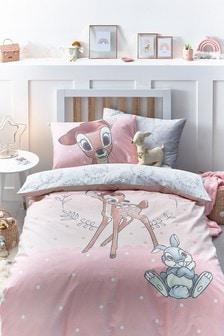 Pink Disney Bambi 100% Cotton Reversible Duvet Cover and Pillowcase Set