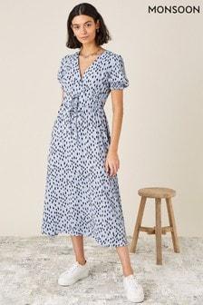Monsoon Blue Printed Ruched Midi Dress
