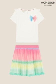 Monsoon Multi Rainbow Top And Skirt Set