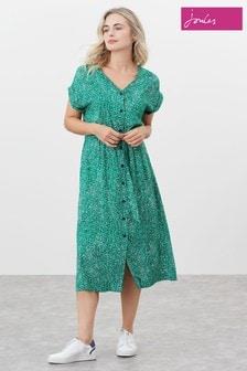 Joules Yasmine Button Through V-Neck Dress