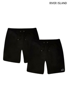 River Island Black Slim Shorts 2 Pack